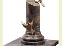 Mz - Pilaar van graniet met bronzen vogels